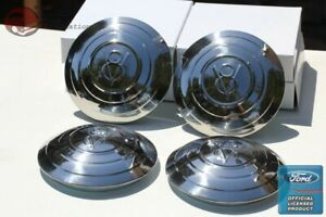 1932 Ford Passenger Car Pickup Truck Stainless Steel Hub Cap Set V8 Script New