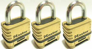 Combination Lock Set By Master 1175 lot Of 3 Resettable Brass Sealed Carbide