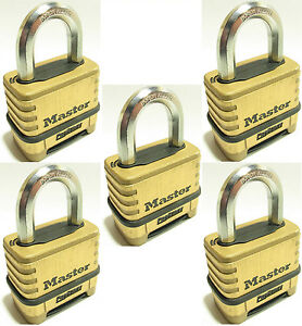 Combination Lock Set By Master 1175 lot Of 5 Resettable Brass Sealed Carbide