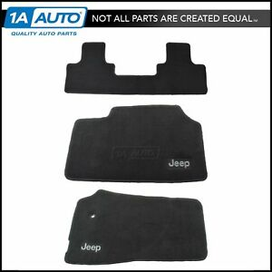 Oem Dark Slate Front Rear Carpeted Floor Mat Kit Set Of 3 For Jeep Truck Suv