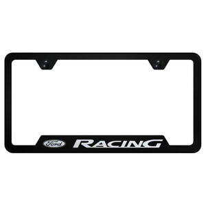 Ford Racing On Black Cut Out License Plate Frame Officially Licensed