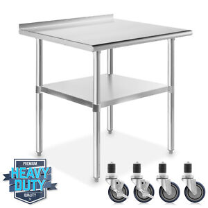 Stainless Kitchen Restaurant Prep Table W Backsplash And 4 Casters 24 X 36