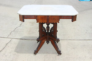 Fantastic Large Walnut Victorian Marble Top Eastlake Center Parlor Table Ca 1880