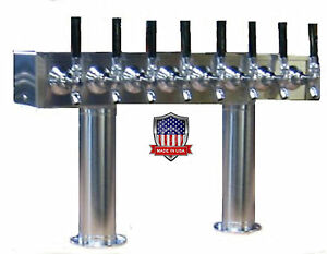 Stainless Steel Draft Beer Tower Made In Usa 8 Faucets Air Cooled pt8ss