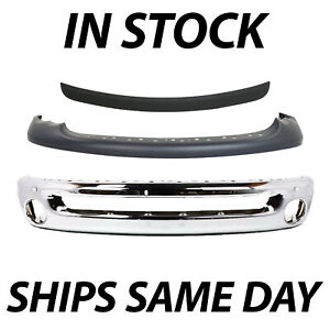 New Front Upper Bumper Combo Kit For 2002 2005 Dodge Ram Truck 1500 2500 3500