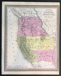 Map Of California Oregon Utah New Mexico Mitchell Cowperthwait 1845
