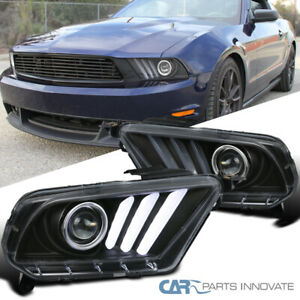 10 14 Mustang Sequential Led Signal Black Projector Headlights Clear Pair