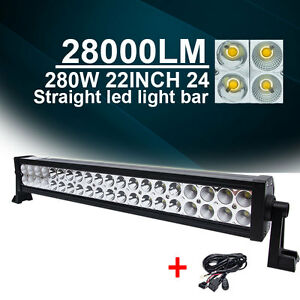 22 24inch Philips 200w Led Light Bar Flood Spot Combo Beam Off Road Lamp Wiring