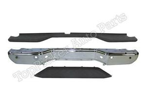 For 13 16 Frontier Rear Step Bumper Face Bar Chrome Top Lower Pad W sensor Hole
