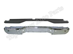 For 2013 2016 Frontier Rear Step Bumper Face Bar Chrome Top Pad With Sensor Hole