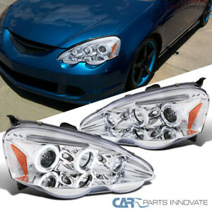 For Acura 02 04 Rsx Dc5 Clear Led Halo Projector Headlights Driving Lights Lamps