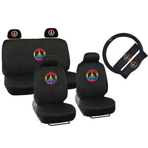 New 13pcs Rainbow Peace Car Front Back Seat Covers Steering Wheel Cover Set