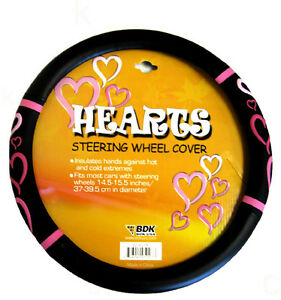New Pink Hearts Car Truck Synthetic Leather Steering Wheel Cover