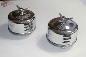 Louvered Mushroom Clamp On 2 Barrel Air Cleaners 3 Wing Nut Hot Rat Rod Truck