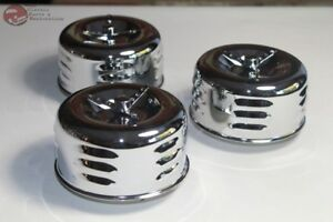 2 Barrel Low Profile Louvered Bee Hive Air Cleaners Wing Nut Hot Rat Rod Truck