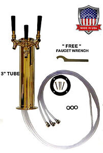 3 Faucet Polished Brass 3 Draft Beer Tower d4743ttbr