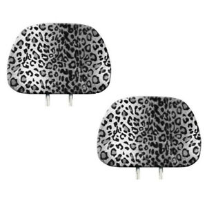 New 2pc Snow Gray Leopard Print Headrest Covers Match Seat Covers Floor Mats