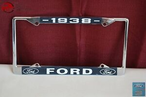 1938 Ford Car Pick Up Truck Front Rear License Plate Holder Chrome Frame New