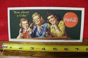 1944 WWII Era Coca Cola Bottle Ink Blotter How about a Coke