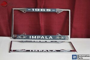 1965 Chevy Impala Gm Licensed Front Rear License Plate Holder Retainer Frames