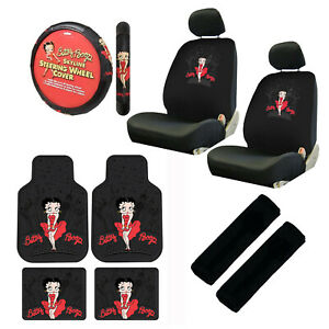 11pc Classic Betty Boop Car Truck Floor Mats Seat Covers Steering Wheel Cover