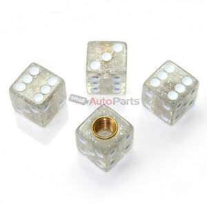 4 Clear Glitter Gem Dice Tire Wheel Stem Air Valve Caps Car Truck Hot Rod Atv