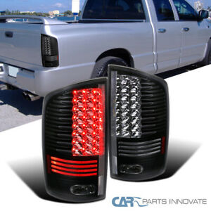 2002 2006 Dodge Ram 1500 2500 3500 Black Clear Led Tail Lights Rear Lamps Pair