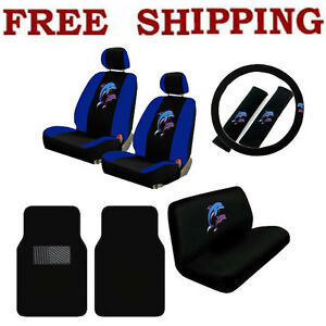 New 13pcs Blue Purple Dolphins Car Seat Covers Steering Wheel Cover