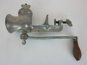 L F C Meat Grinder Food Chopper Vintage Antique Universal Table Top Mounted No 1