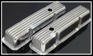 Sbc Chevy 350 383 Tall Retro Style Finned Valve Covers Aluminum S 6181 F