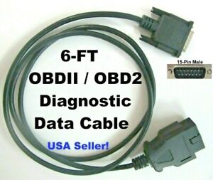 Replacement Obd2 Obdii Scanner Data Cable For Actron Cp9180 Cp9185 Cp9190 Cp9690