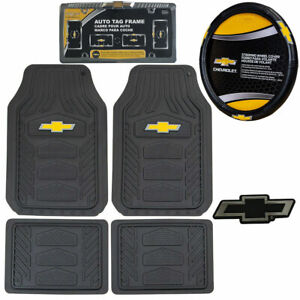 7pc Chevy Car Truck All Weather Rubber Floor Mats Steering Wheel Cover Emblem