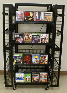 Black 4 sided Retail Size Dvd movie game bluray Display Rack Holds 500 Units