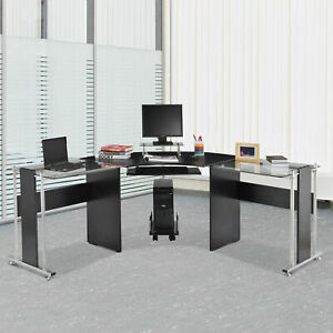 69 L shaped Coner Computer Laptop Desk W Cpu Stand Home Office Workstation