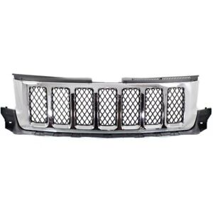 Grille For 2011 2013 Jeep Grand Cherokee Chrome Shell W Black Insert Plastic