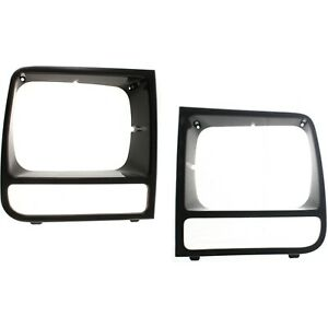 97 01 For Jeep Cherokee Black Headlight Headlamp Trim Bezels Left And Right Set