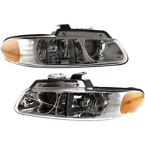 Headlight Set For 2000 Chrysler Voyager Left Right W 2 Prong Connector 2pc