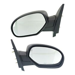 Side View Mirrors Manual Folding Textured Black Lh And Rh Pair Set For Chevy Gmc
