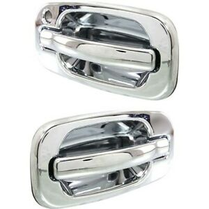 Front Chrome Exterior Outside Door Handle Pair For Chevy Gmc Suv Truck New