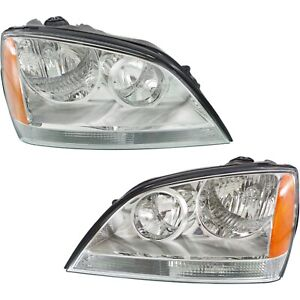 Headlight Set For 2003 2004 Kia Sorento Left And Right With Bulb 2pc
