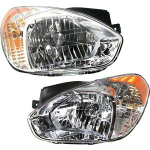 Halogen Headlight Set For 2007 2011 Hyundai Accent Left Right W Bulb s Pair