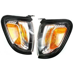 Side Marker Corner Parking Lights Turn Signals Pair Set Black For 01 04 Tacoma