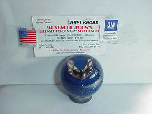 Pontiac Firebird Custom Shift Knob White Logo Gm Licensed 2 blue Glitter
