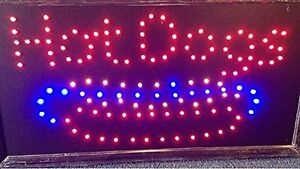 10 19 Animated Motion Led Hot Dogs Sign On Off Switch Bright Open Light Neon