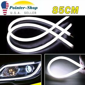 2x White 85cm Led Flexible Soft Tube Car Drl Daytime Running Lamp Strip Light