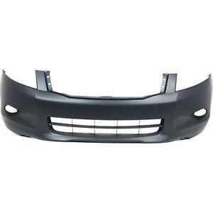 Front Bumper Cover For 2008 2010 Honda Accord Sedan W Fog Lamp Holes Primed