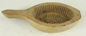 Vintage Kitchen Primitive Wood Butter Press Germanic Carved Fluted Floral Mold