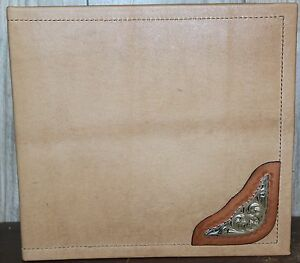 Smooth Rustic Tan Leather W Small Saddle Corner Large 3 Ring Binder