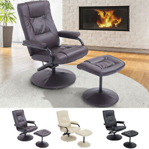 Recliner Chair Swivel Armchair Lounge Seat W Footrest Stool Ottoman Home Office