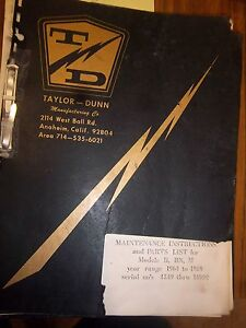 Taylor dunn Vehicle Parts maintenance operation Manual model B bn m 1964 1969
